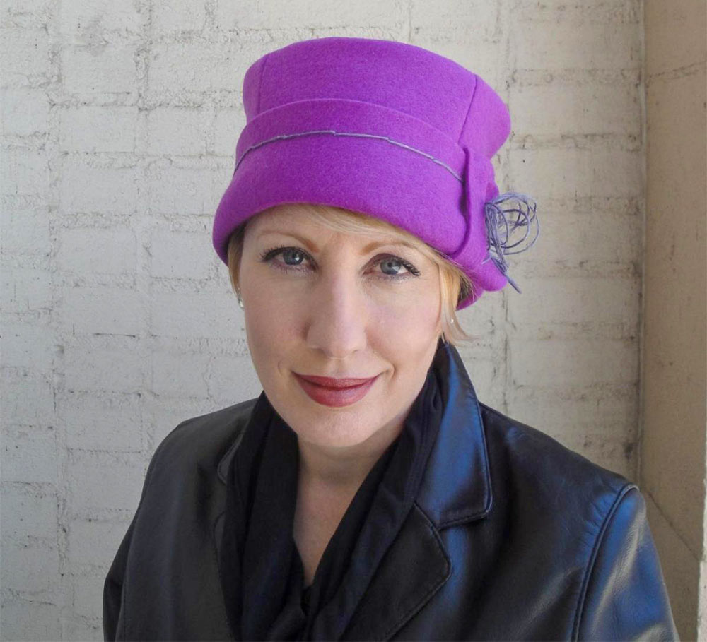 Lee St. Mare wearing an Orchid Cloche
