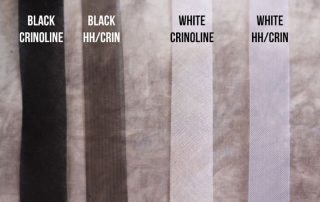 Photo showing black crinoline, black HH/crin, white crinoline, and white HH/crin.