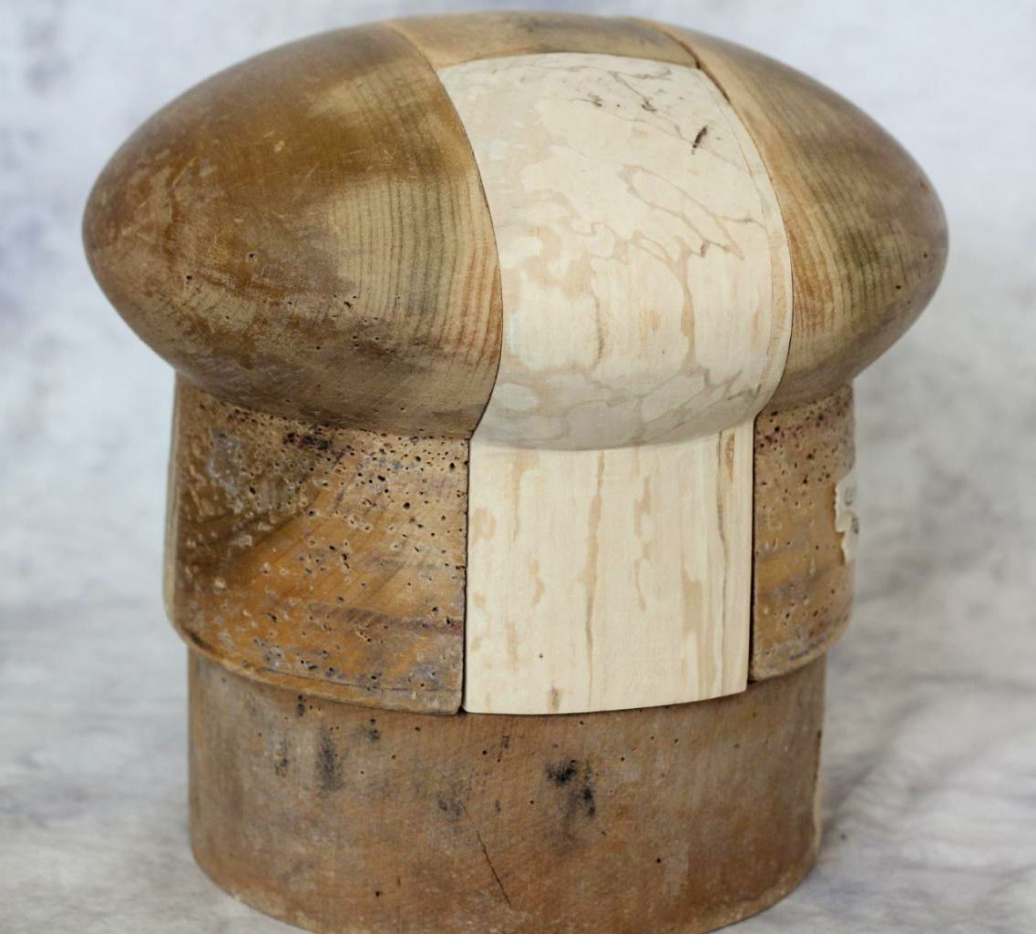 Vintage hat block after repair