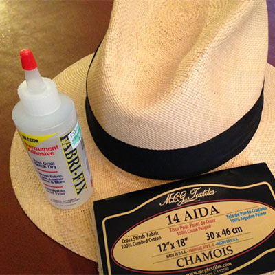 Chamois cloth and clear drying glue for straw hat repair.