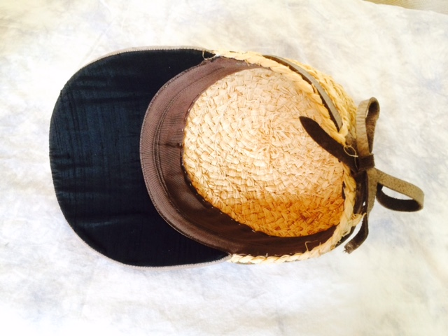 Inside of the raffia straw golf cap made by Kathy Gaffney