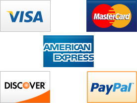 Visa, Mastercard, American Express, Discover, and Paypal