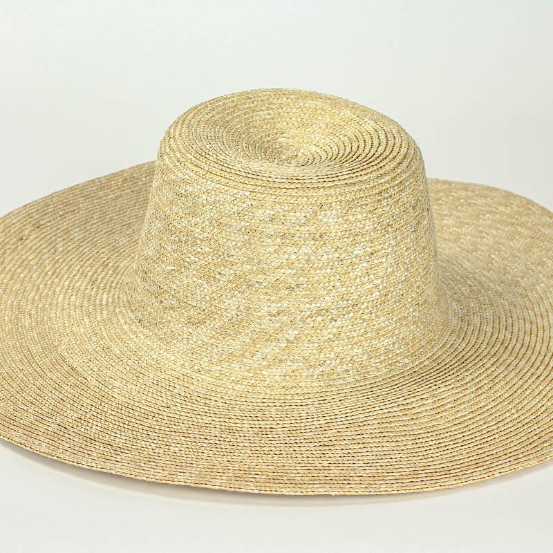 Natural sewn Straw Capeline, undyed, (Milan) strip straw. 17/18 inch diameter x 6 inch crown in 4/5mm braid.