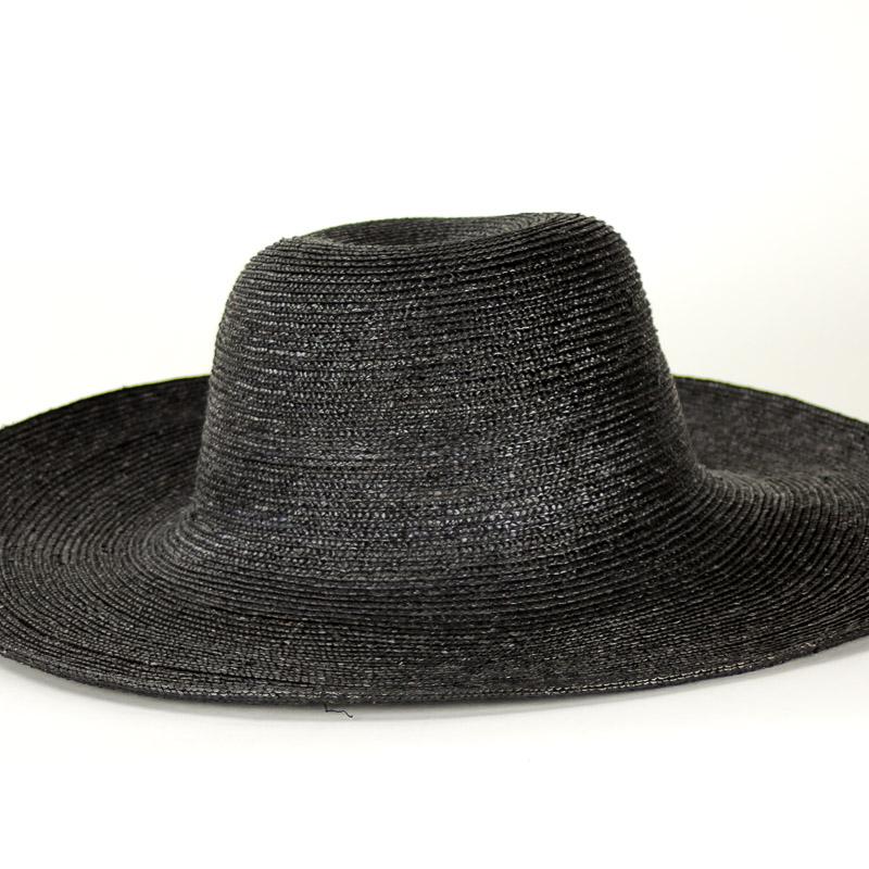 Black Sewn Straw Capeline of dyed, (Milan) strip straw. 17/18 inch diameter x 6 inch crown in 4/5mm braid.