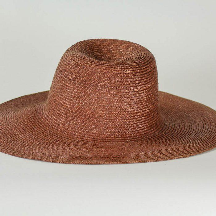 Brown sewn Straw Capeline of dyed, (Milan) strip straw. 17/18 inch diameter x 6 inch crown in 4/5mm braid.