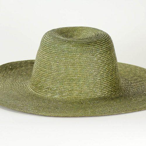 Green sewn Straw Capeline of dyed, (Milan) strip straw. 17/18 inch diameter x 6 inch crown in 4/5mm braid.