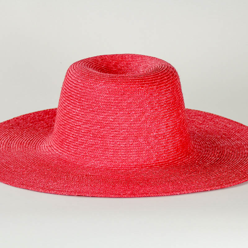 Red sewn Straw Capeline of dyed, (Milan) strip straw. 17/18 inch diameter x 6 inch crown in 4/5mm braid.