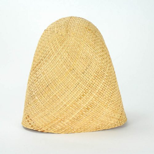 Flat weave raffia hood with finished edge, 11-12 inch depth, will remain soft and supple. Can be dyed.