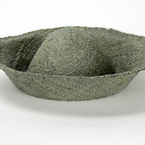 A greenish Grey flat weave raffia hatbody with finished edge,