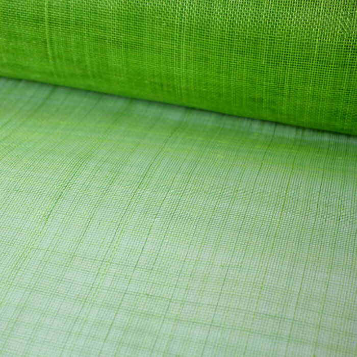 Lightly sized Gauzy look straw cloth in a bright lime green.