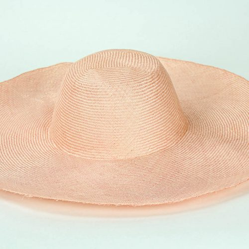 "Peach Grade One Parasisal 6"" body. Finely woven straw with sheen"