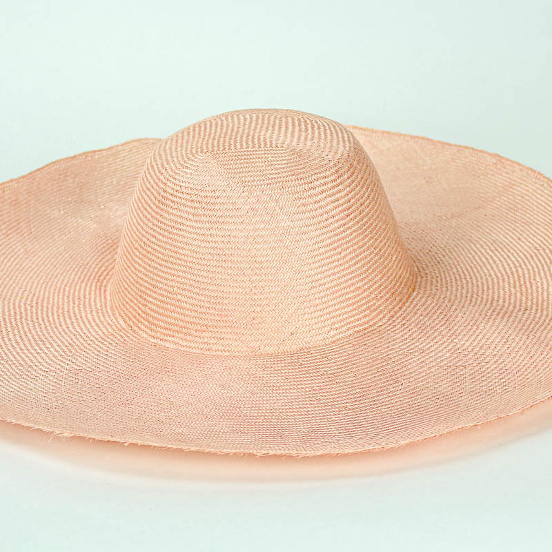 """Peach Grade One Parasisal 6"""" body. Finely woven straw with sheen"""