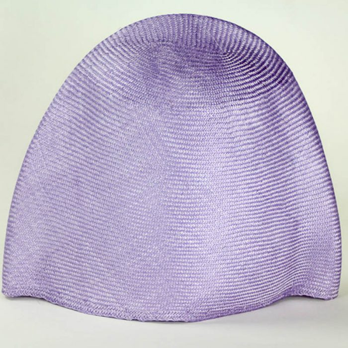 Lilac Grade I parasisal hood. Finely woven straw with sheen