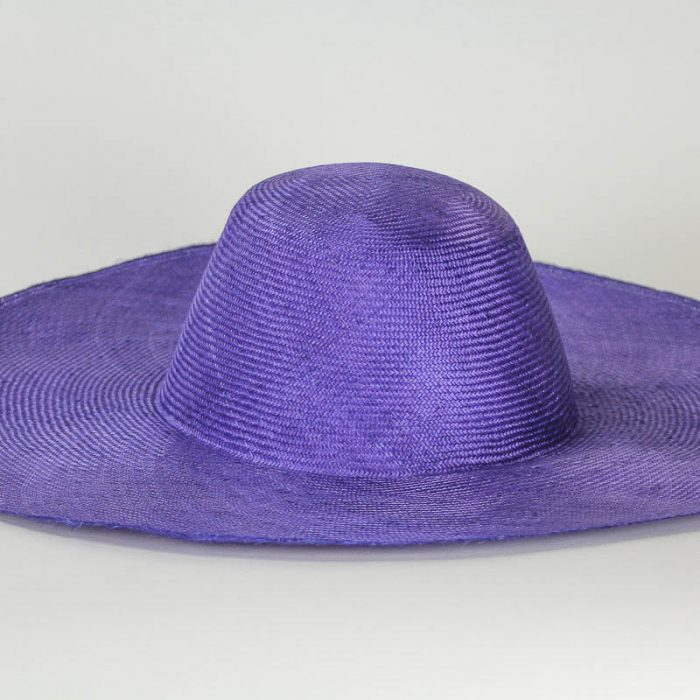 """Purple Grade One Parasisal 6"""" body. Finely woven straw with sheen"""