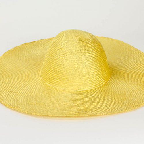 "Bright Yellow Grade One Parasisal 6"" body. Finely woven straw with sheen"