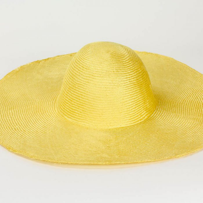 """Bright Yellow Grade One Parasisal 6"""" body. Finely woven straw with sheen"""
