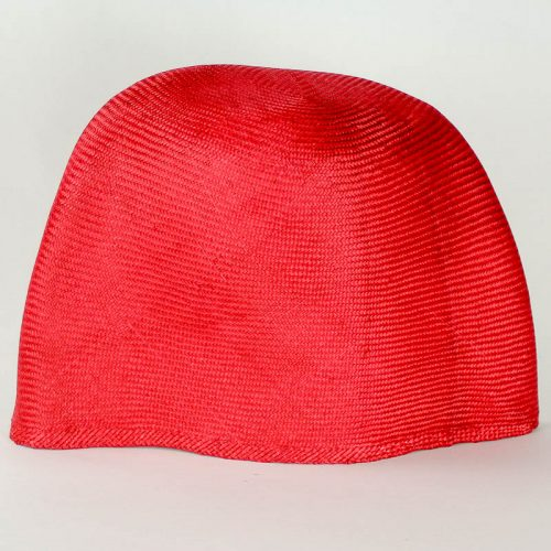 Scarlet Red Grade One Parasisal hood. Finely woven straw with sheen