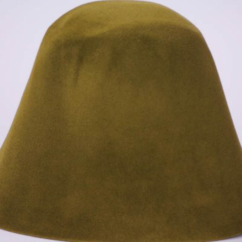 Olive gold hood, or cone shape, with velour finish on outside only.