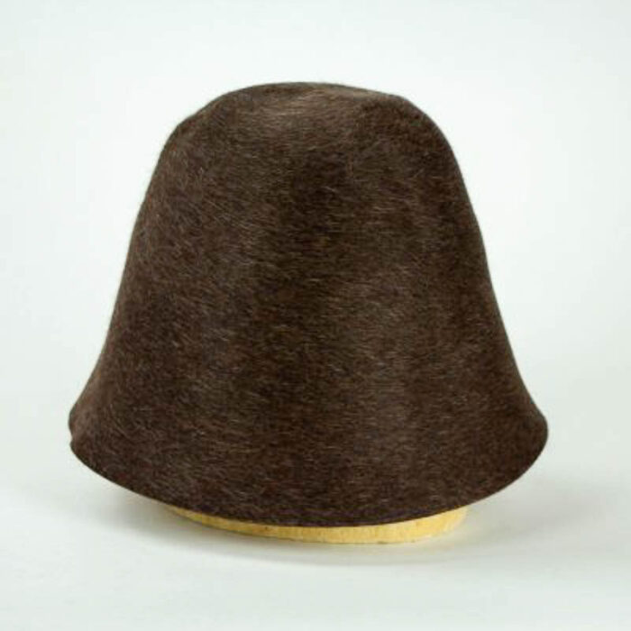 A medium heather brown with heather finish hood, or cone, shape.