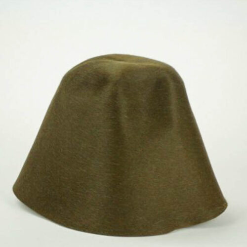 Loden green salome hood, or cone shape.