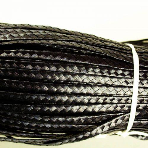 Polymer braid 5-6 mm (1/4 inch) wide x 144 yards. Standard weave pattern.