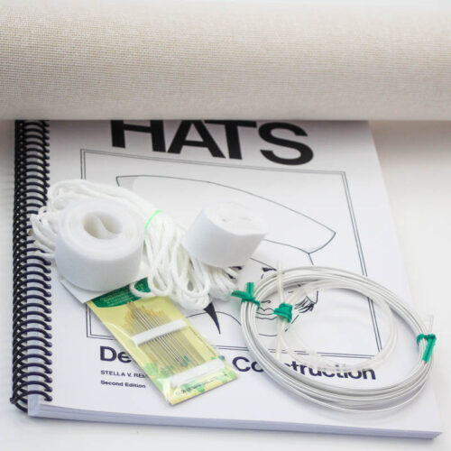 "Basic supplies for making hats with buckram foundation plus the book, ""Hats: Design and Construction"". There are sufficient supplies for making several hats."
