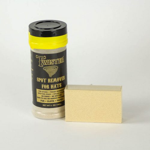 Granular spot remover and sponge for hats.
