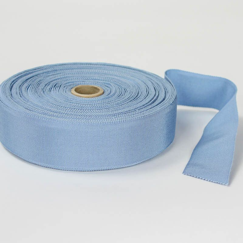 Light Blue. Made in France. Blend of 44% rayon/ 56% cotton grosgrain belting with a saw-tooth edge.
