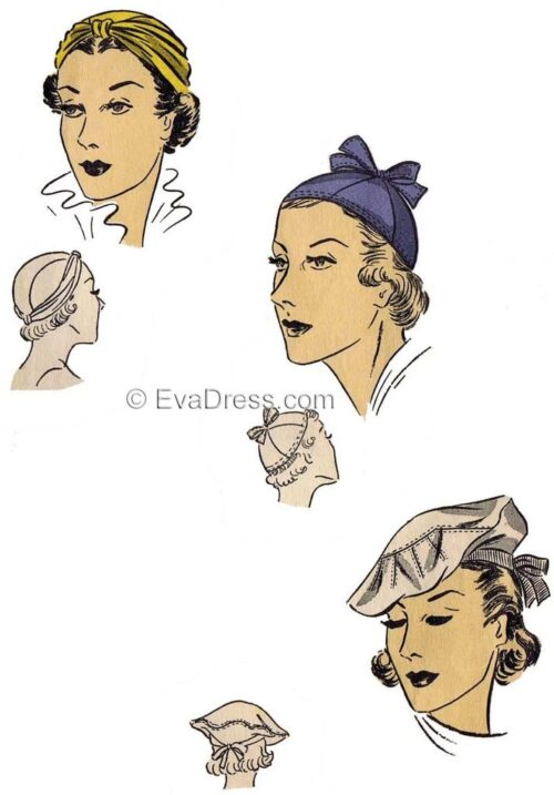 Discontinuing these patterns. Regular price $8.00. 1940s Reproduction Pattern - 21 inch headsize.