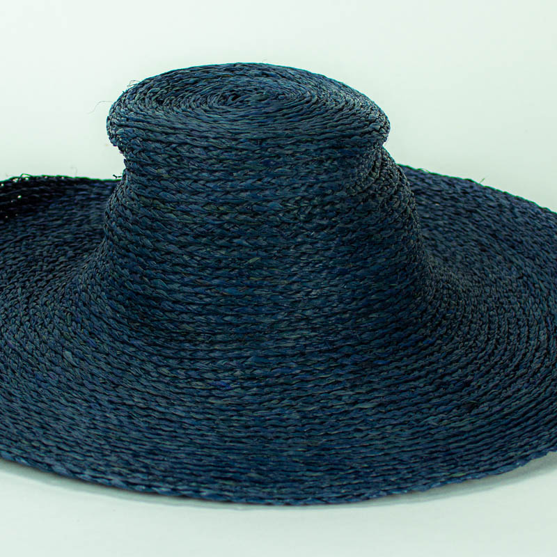Sewn Raffia Straw Capeline in medium navy blue shade. (17/18 inch diameter)