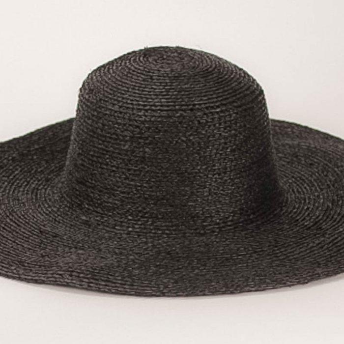 Black Sewn Raffia Straw Capeline,(17/18 inch diameter)