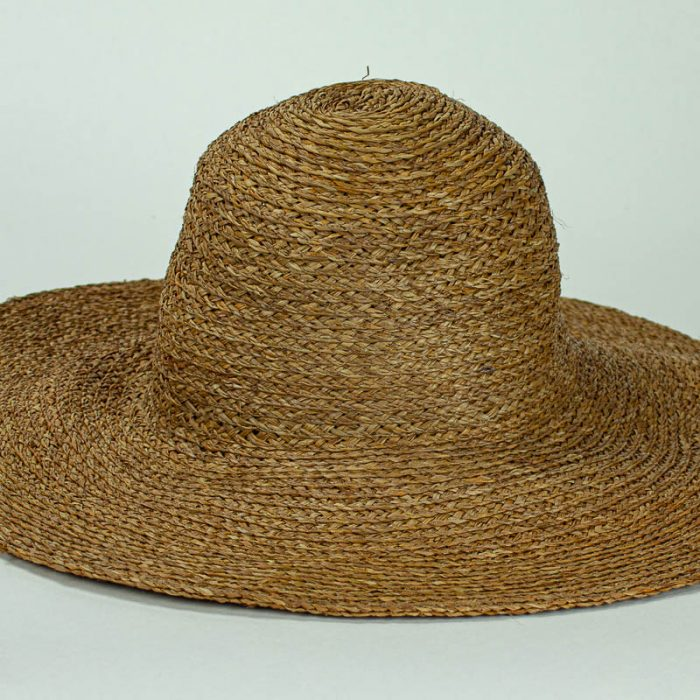 Sewn Raffia Straw Capeline in rusty brown shade, (17/18 inch diameter)