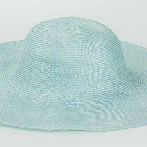 "Sky Blue Grade One Parasisal 6"" body. Finely woven straw with sheen"