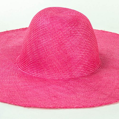 "Hot Pink Grade One Parasisal 6"" body. Finely woven straw with sheen"