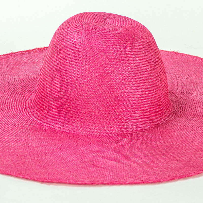 """Hot Pink Grade One Parasisal 6"""" body. Finely woven straw with sheen"""