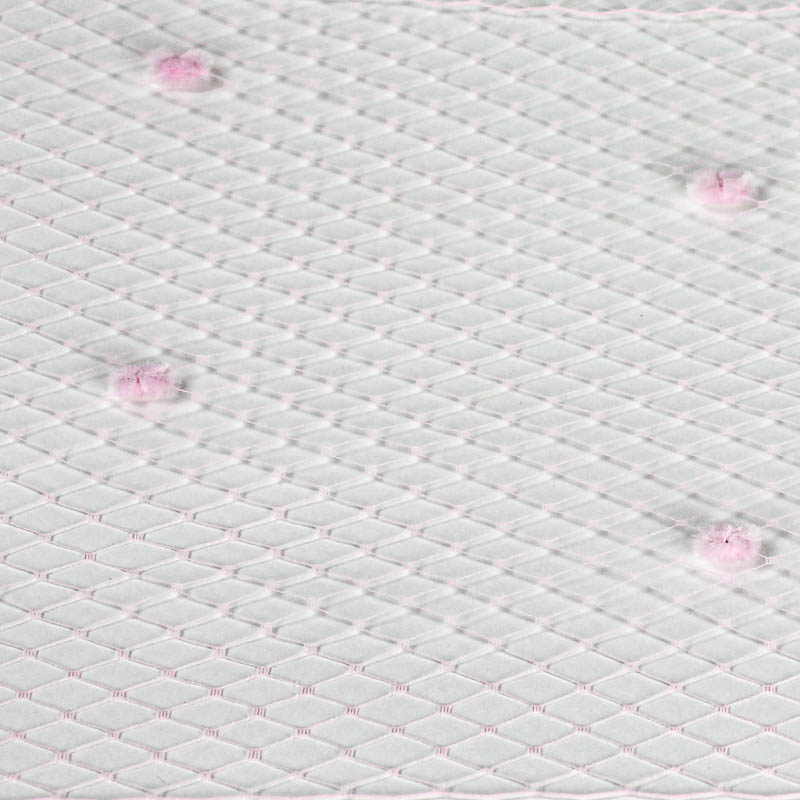 Pink Standard diamond pattern with 1/4 inch opening, 8-9 inch width and 1/4 inch chenille dots, 100% nylon.