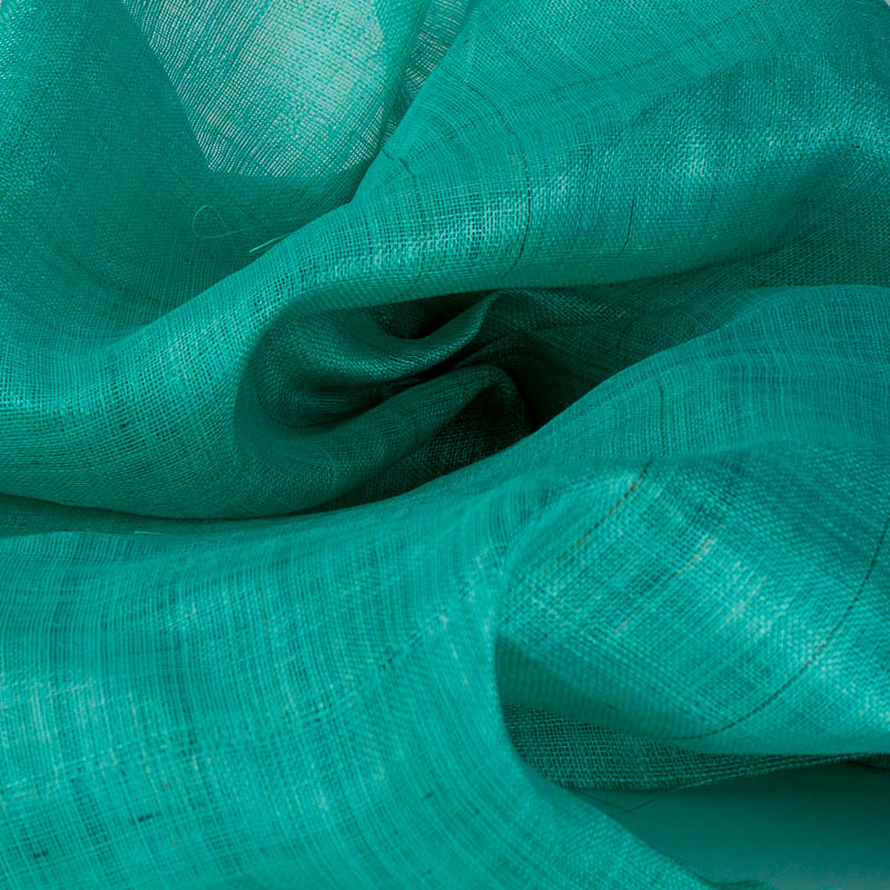 Aqua green Pinokpok is in the sinamay family with lots more body and wonderful draping qualities.
