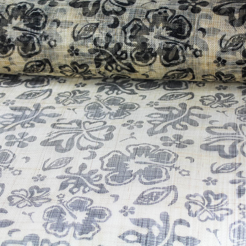 Tropical Floral Print in Black and Natural Sinamay