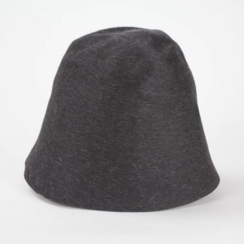 A deep black with heather finish. Salome is a heather fur felt, in hood or cone shape for blocking.