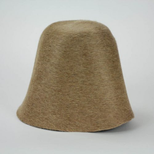 Camel brown salome hood, or cone, shape. Salome is a heather fur felt, excellent quality.