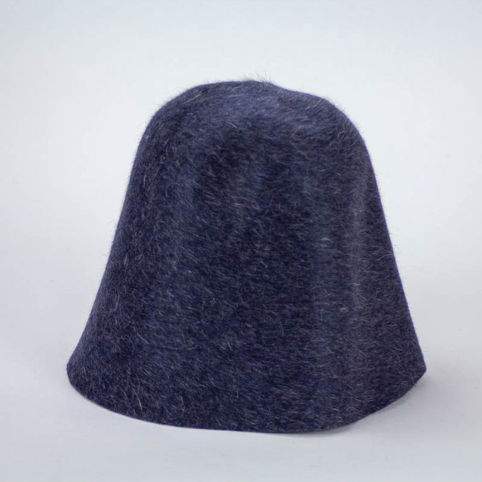 A lovely navy with heather finish hood, or cone, shape.