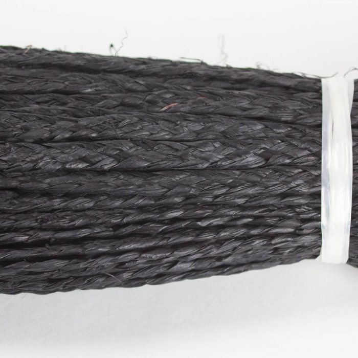 Black raffia straw braid, 7 to 8 millimeter width
