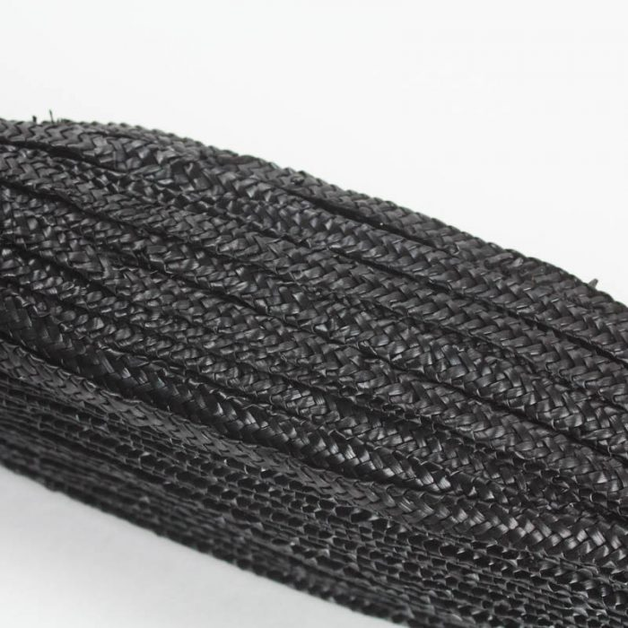 Black straw braid in standard Milan weave