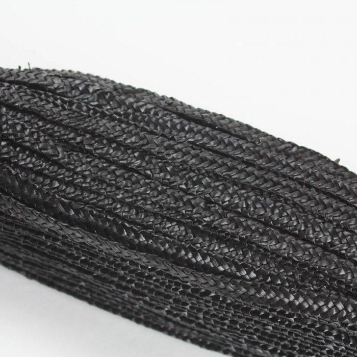 Black straw braid in standard Milan weave