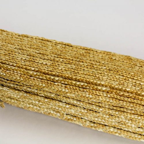 Natural, undyed, straw braid in standard Milan weave