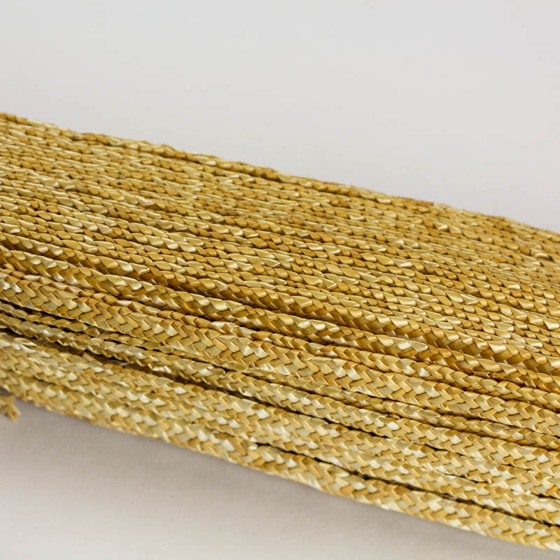Natural, undyed, straw braid in standard Milan weave
