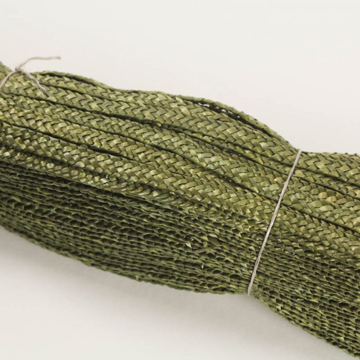 Green straw braid in standard Milan weave