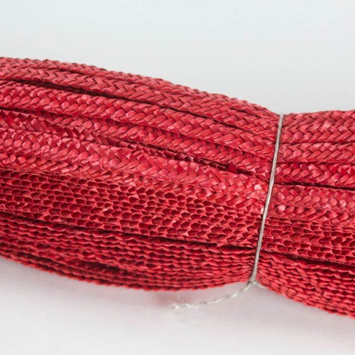 Red straw braid in standard Milan weave