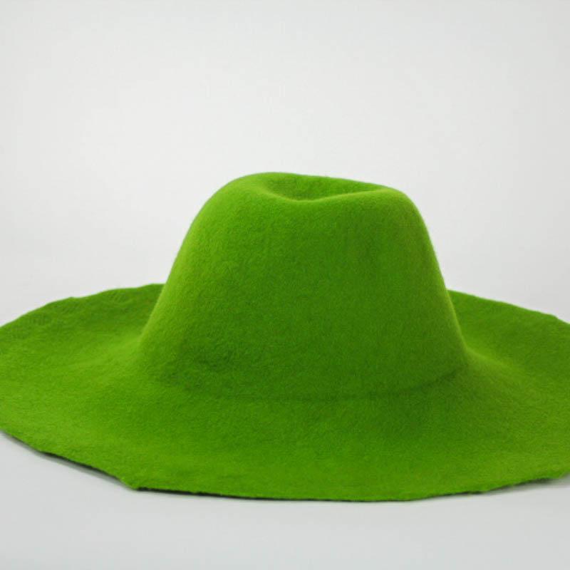 Moss green capeline, 100% merino wool felt, made in US.