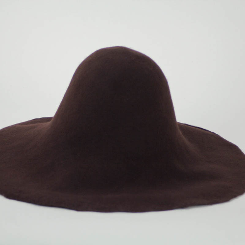 Chocolate brown capeline. 100% merino wool felt, made in US.